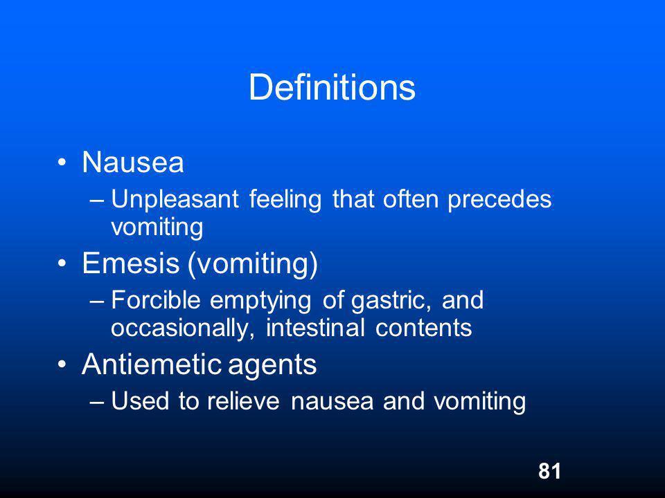 Definitions Nausea Emesis (vomiting) Antiemetic agents