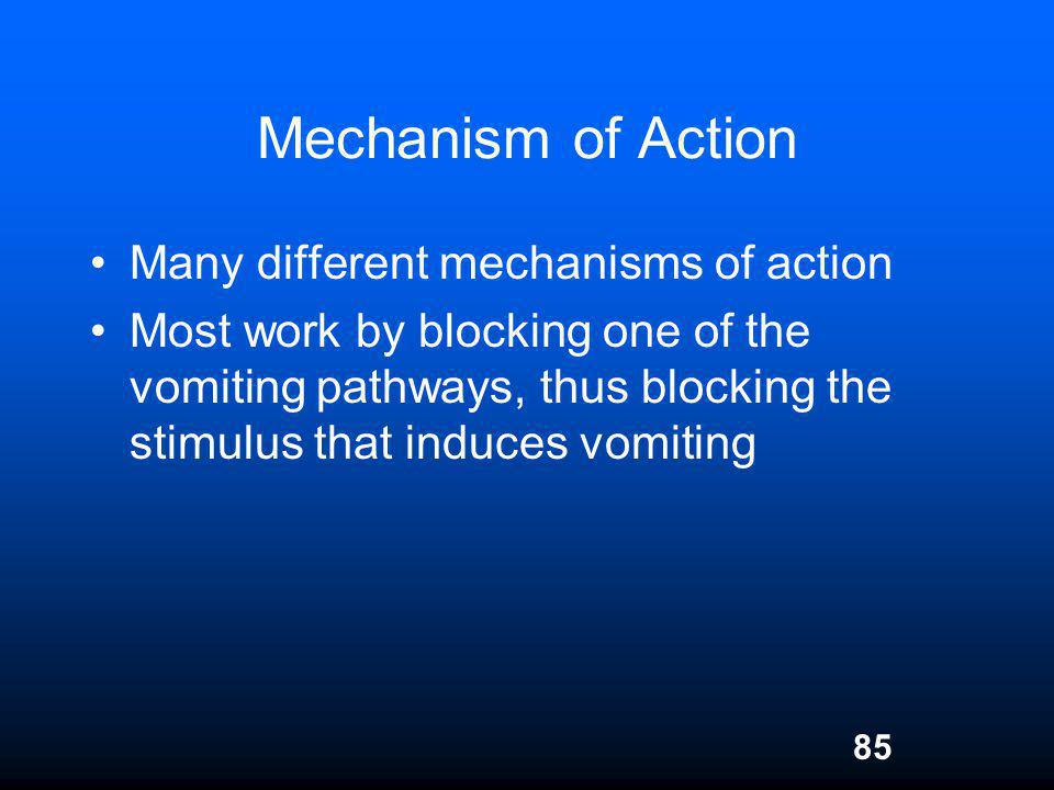 Mechanism of Action Many different mechanisms of action