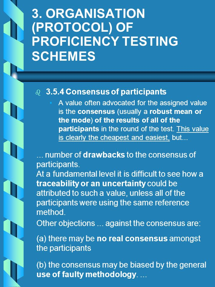 3. ORGANISATION (PROTOCOL) OF PROFICIENCY TESTING SCHEMES