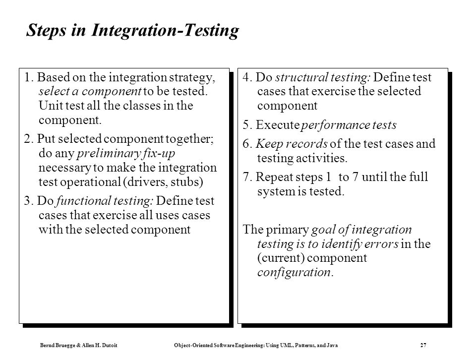 Steps in Integration-Testing