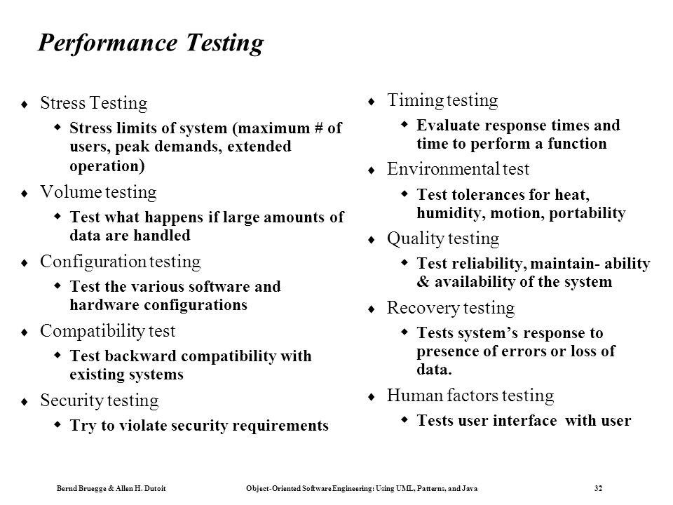 Performance Testing Timing testing Stress Testing Environmental test