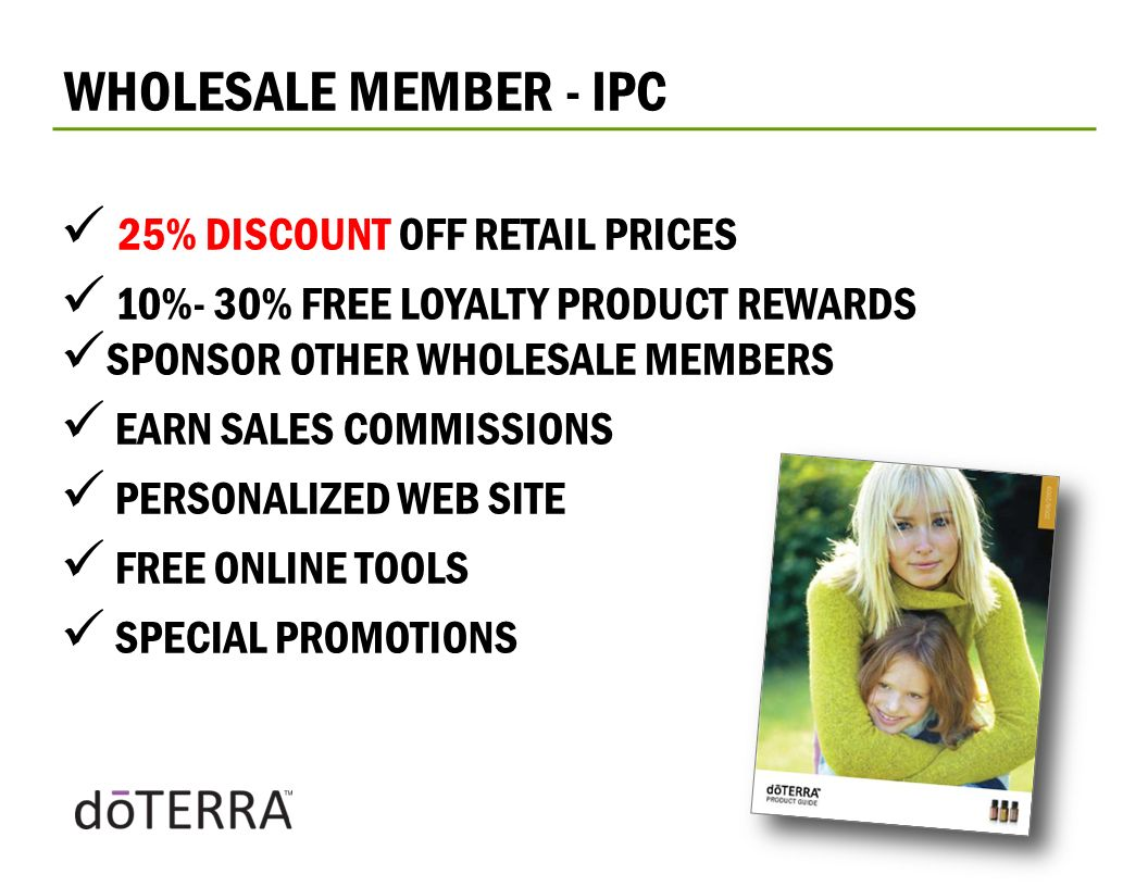 WHOLESALE MEMBER - IPC 25% DISCOUNT OFF RETAIL PRICES