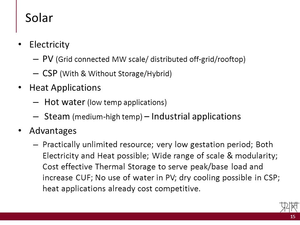 Solar Electricity. PV (Grid connected MW scale/ distributed off-grid/rooftop) CSP (With & Without Storage/Hybrid)