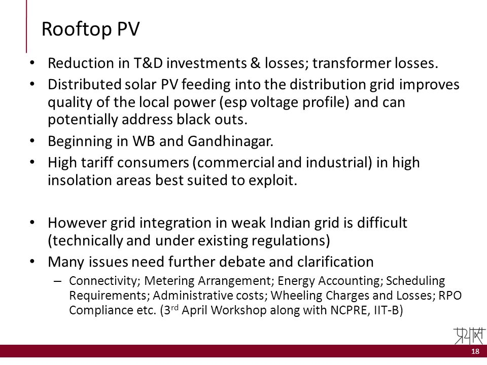 Rooftop PV Reduction in T&D investments & losses; transformer losses.