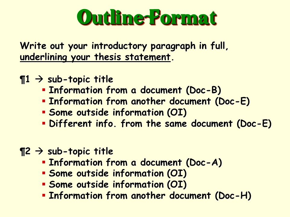 Outline Format Write out your introductory paragraph in full, underlining your thesis statement. ¶1  sub-topic title.