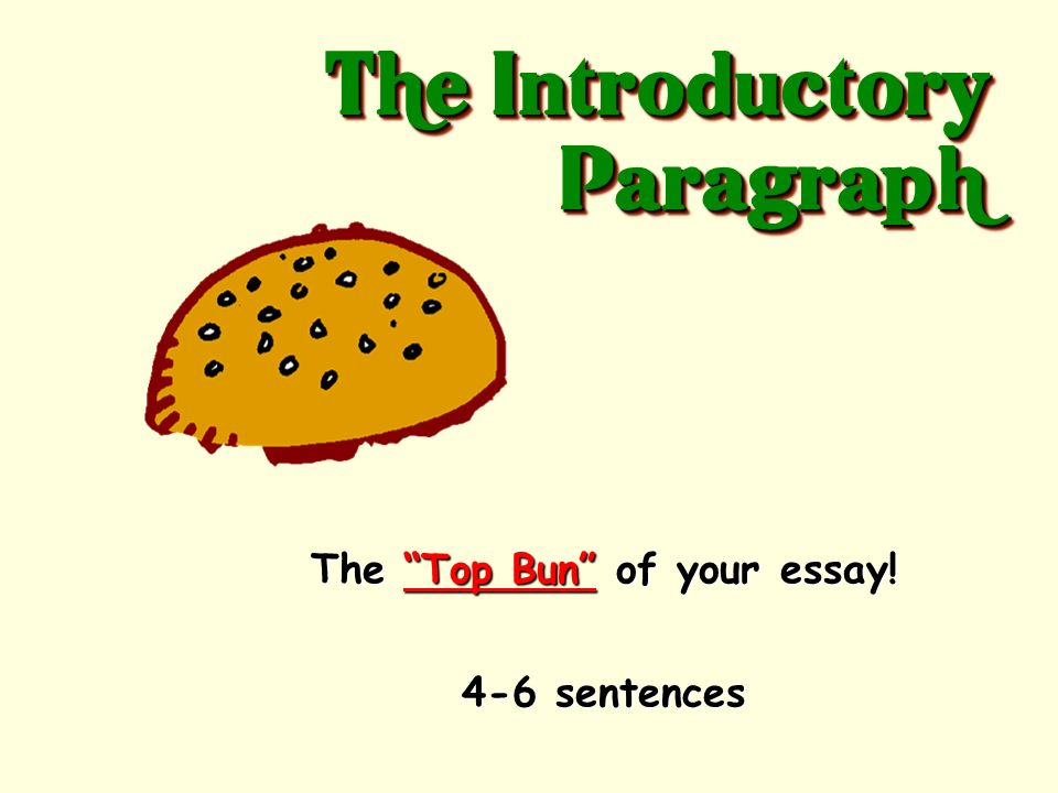 The Top Bun of your essay!