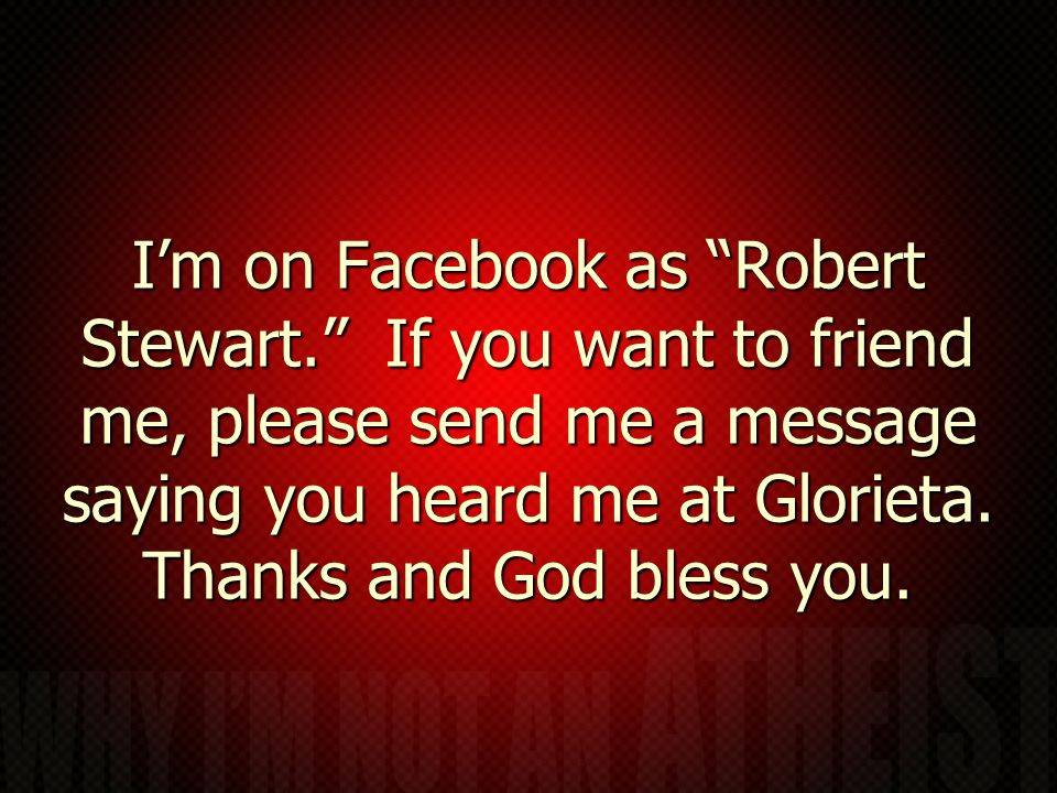 I'm on Facebook as Robert Stewart
