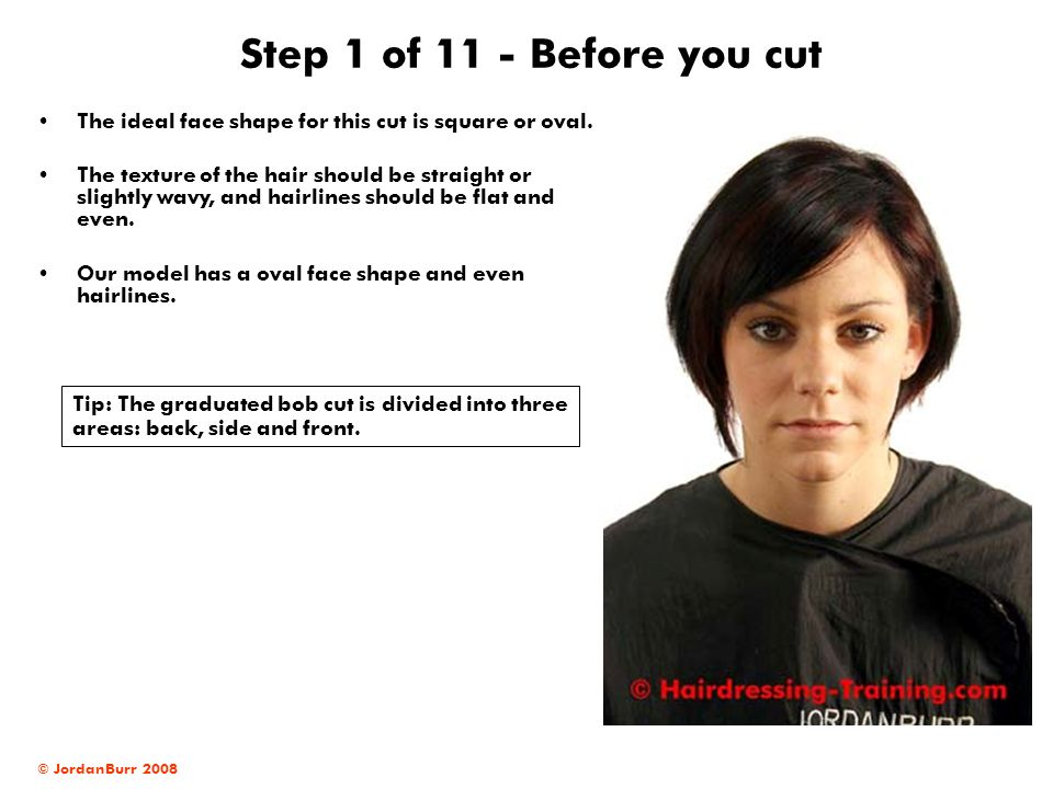 Step 1 of 11 - Before you cut The ideal face shape for this cut is square or oval.
