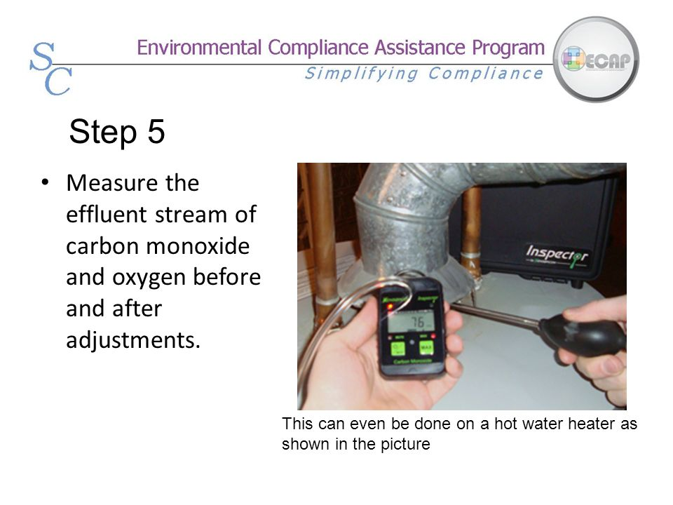 Step 5 Measure the effluent stream of carbon monoxide and oxygen before and after adjustments.