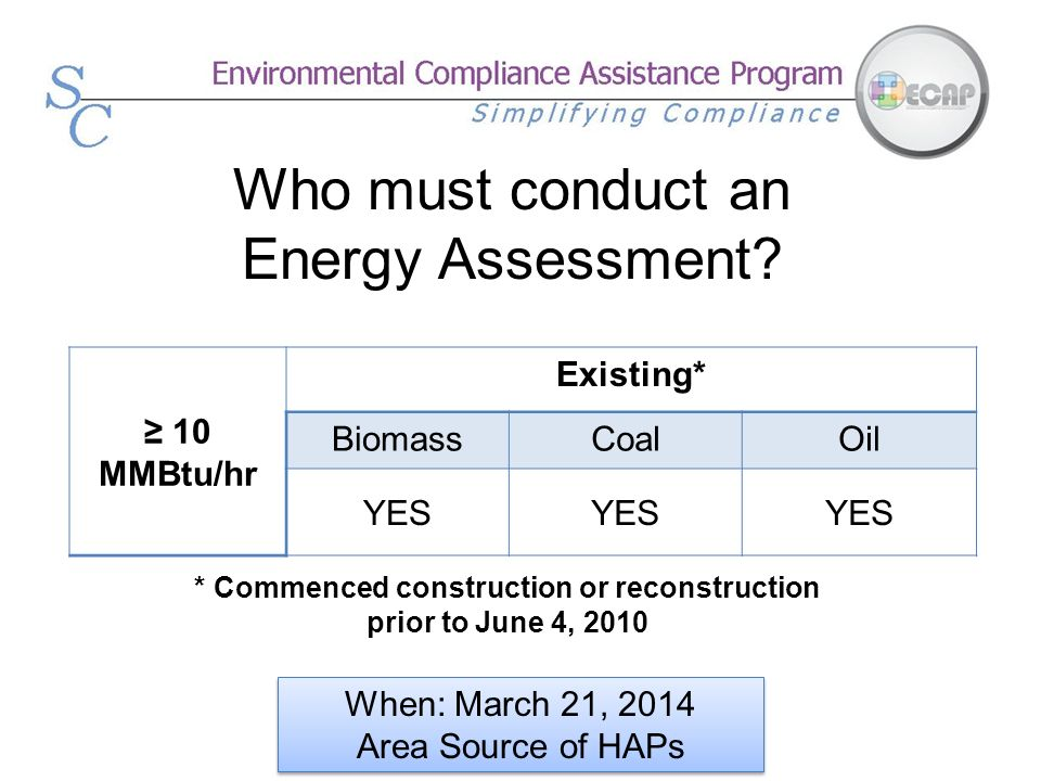 Who must conduct an Energy Assessment