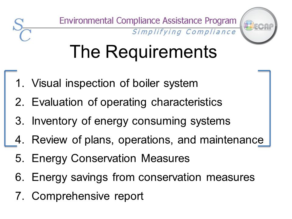 The Requirements Visual inspection of boiler system