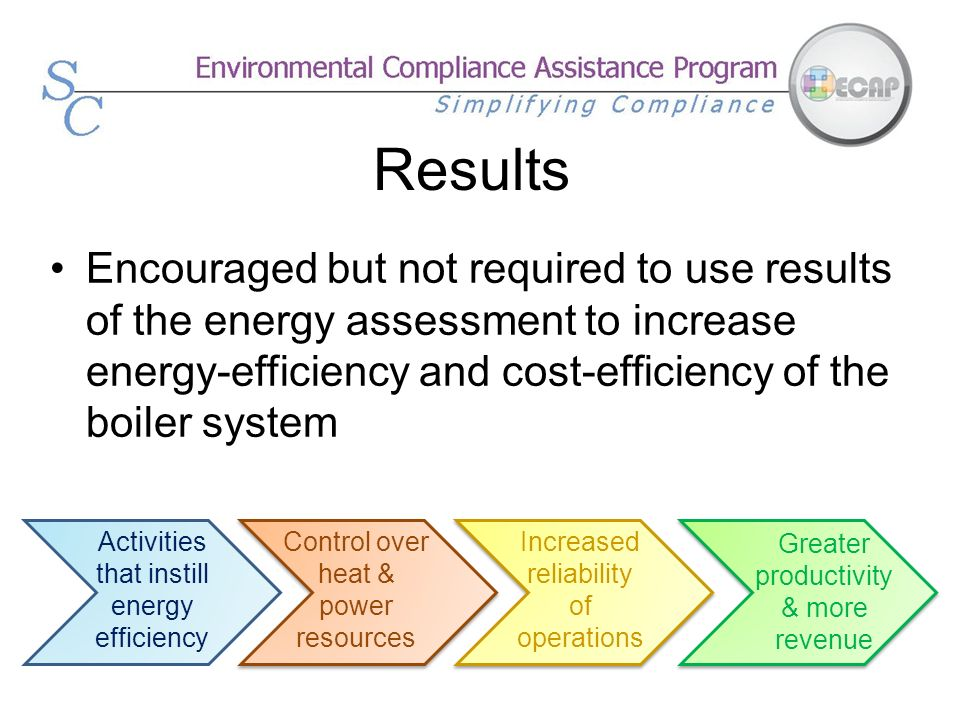 Results Encouraged but not required to use results of the energy assessment to increase energy-efficiency and cost-efficiency of the boiler system.