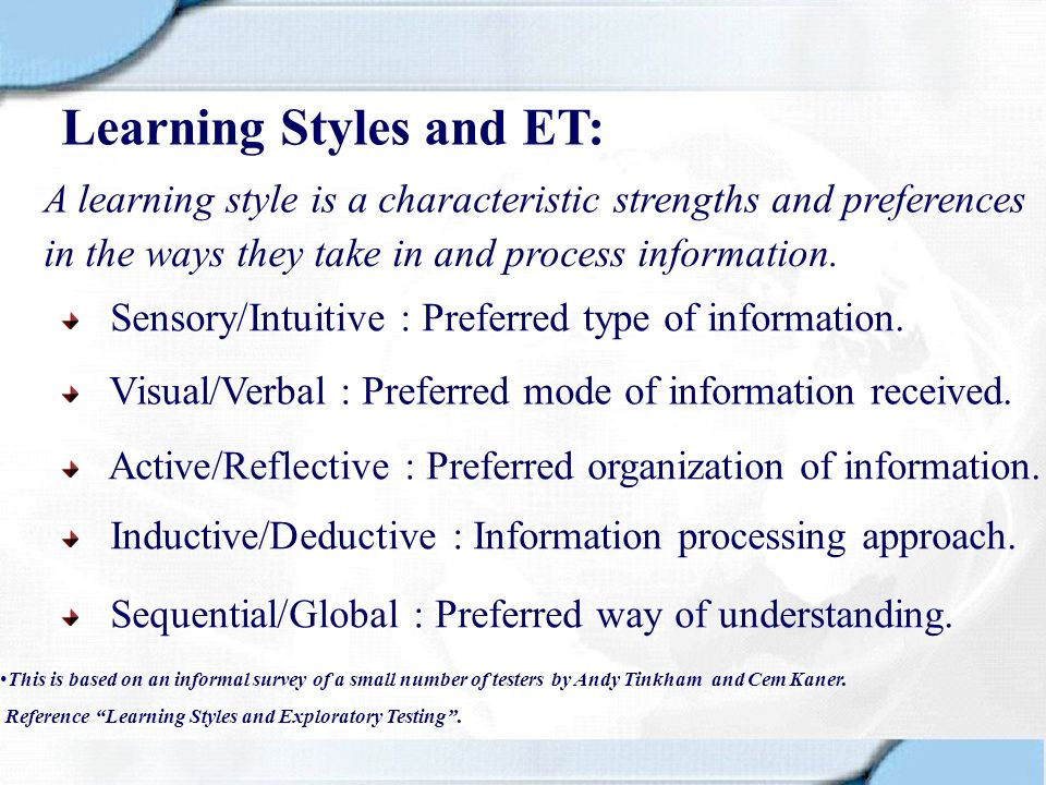 Learning Styles and ET: