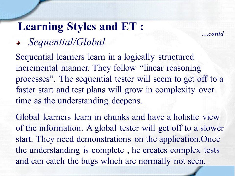 Learning Styles and ET :