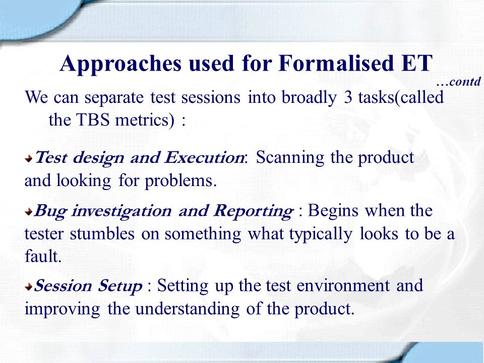 Approaches used for Formalised ET