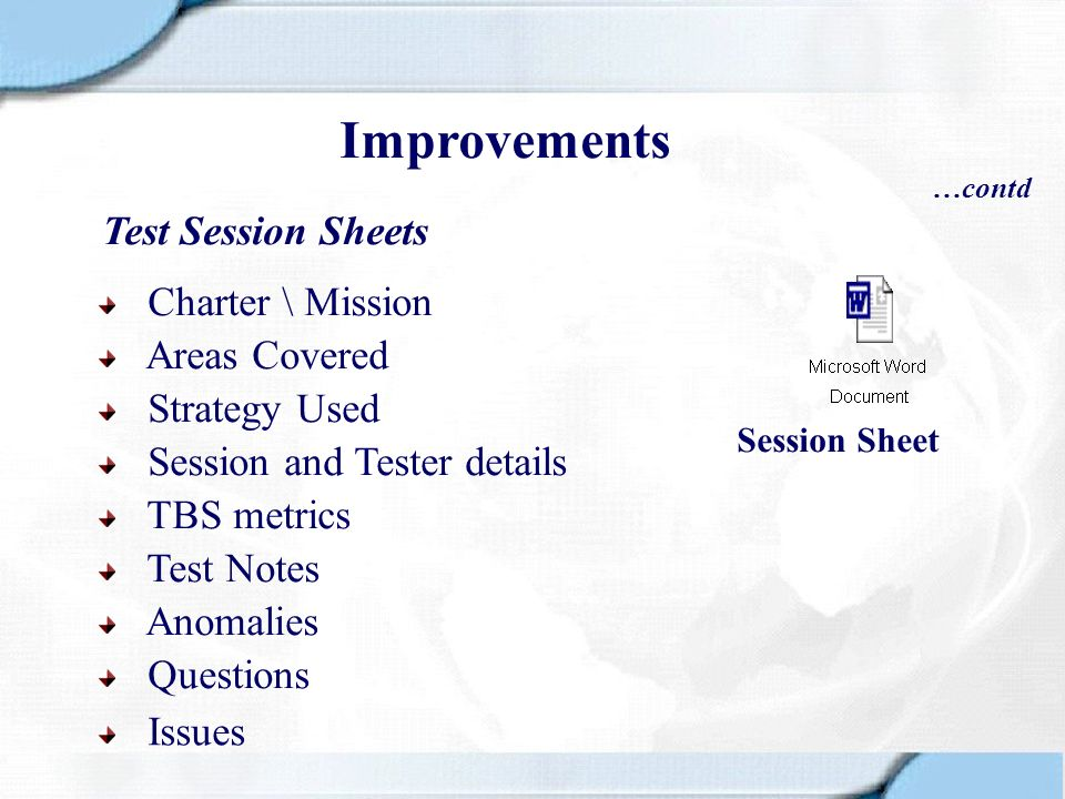 Improvements Test Session Sheets Charter \ Mission Areas Covered
