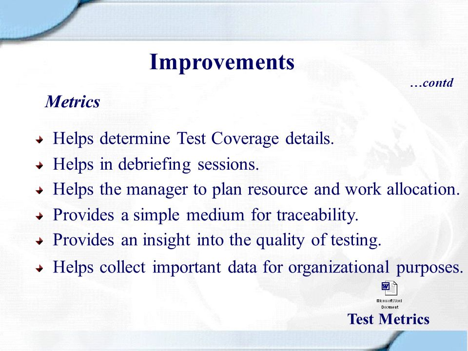 Improvements Metrics Helps determine Test Coverage details.