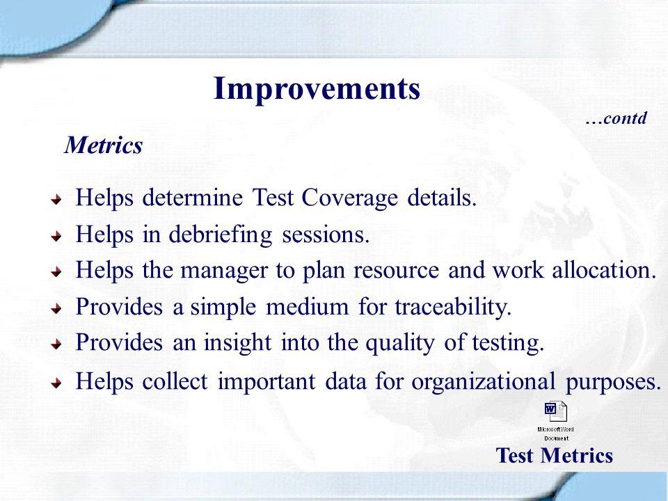Improvements Metrics Helps determine Test Coverage details.