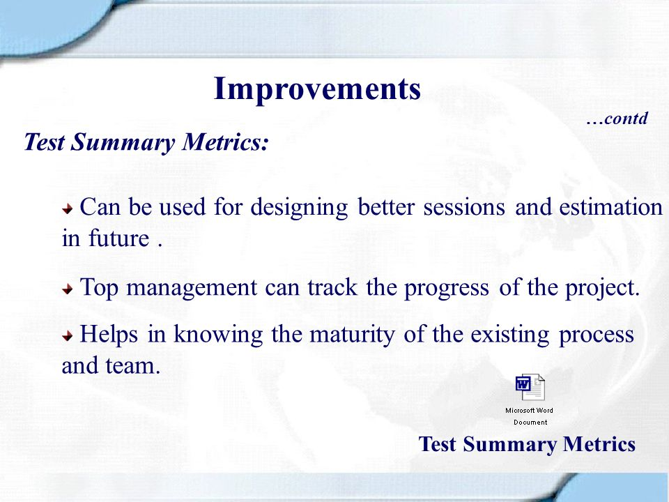 Improvements Test Summary Metrics: