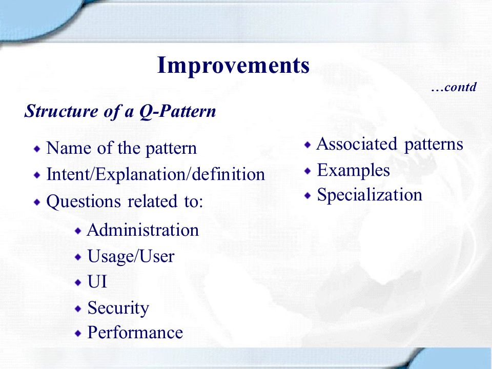 Improvements Structure of a Q-Pattern Associated patterns
