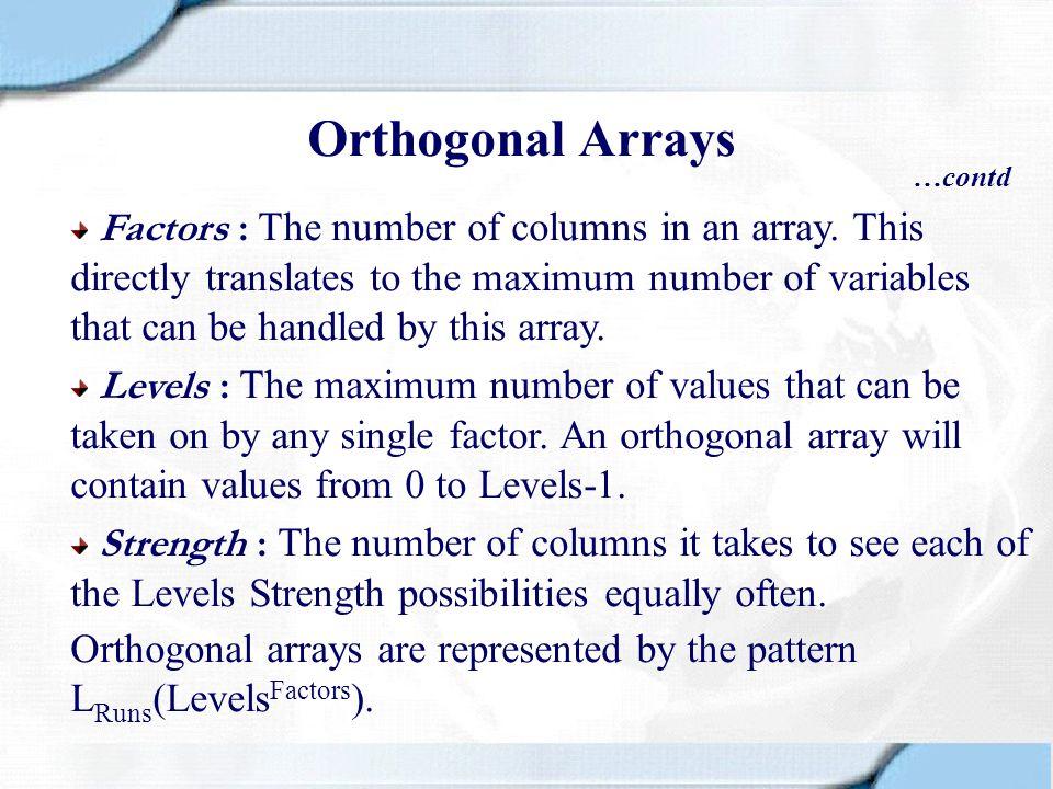 Orthogonal Arrays …contd.