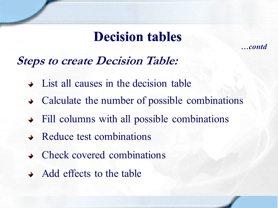 Decision tables Decision tables