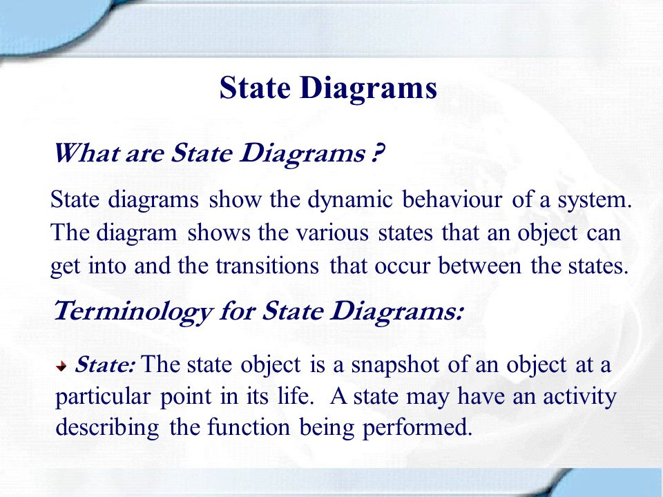 State Diagrams What are State Diagrams