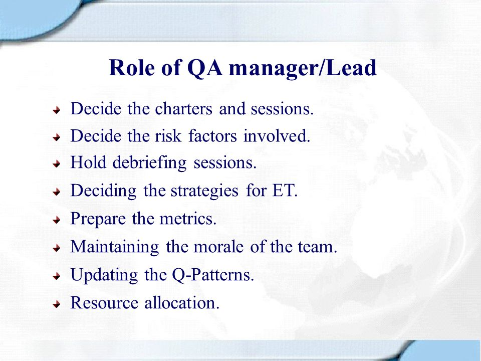 Role of QA manager/Lead