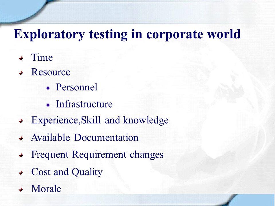Exploratory testing in corporate world