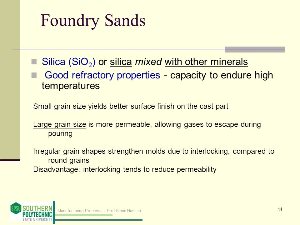 Foundry Sands Silica (SiO2) or silica mixed with other minerals