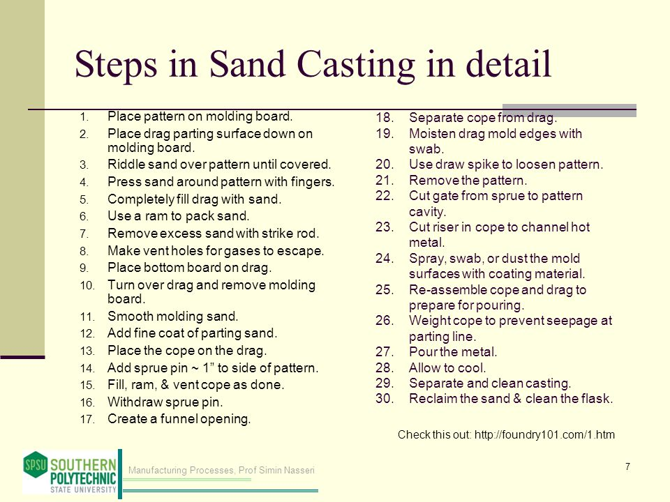 Steps in Sand Casting in detail