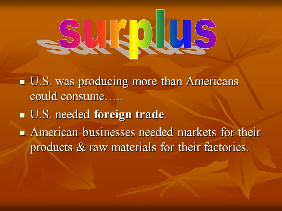 surplus U.S. was producing more than Americans could consume…..
