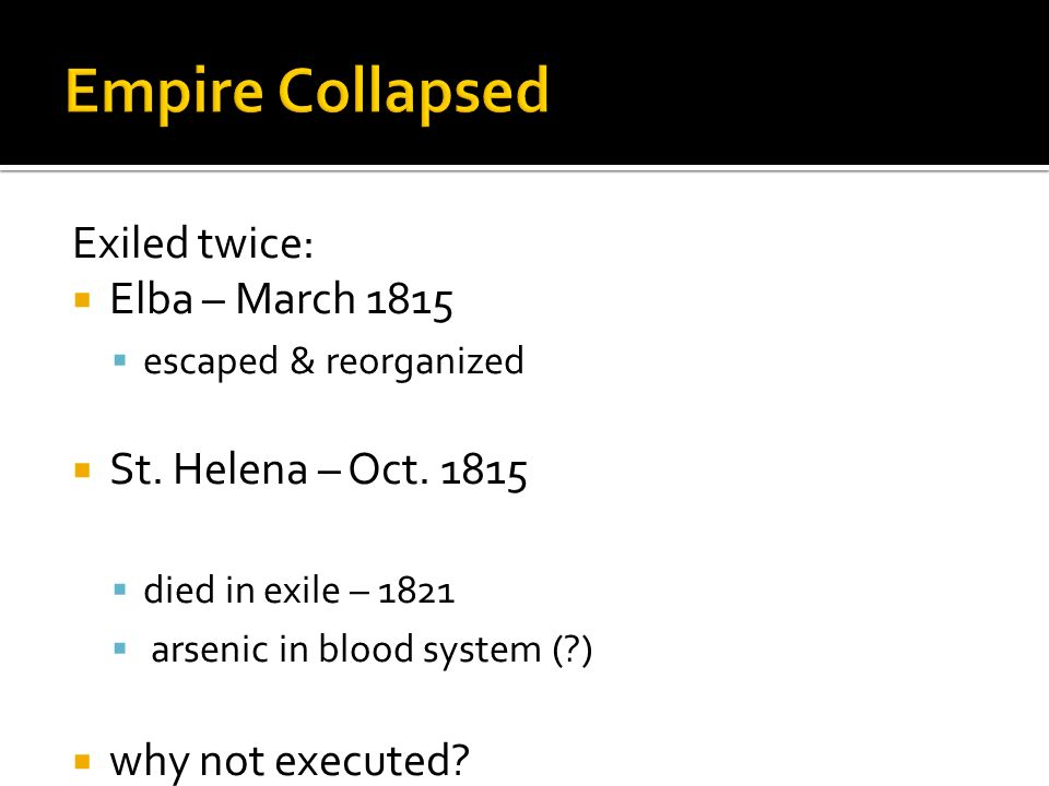 Empire Collapsed Exiled twice: Elba – March 1815