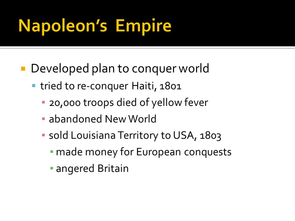 Napoleon's Empire Developed plan to conquer world