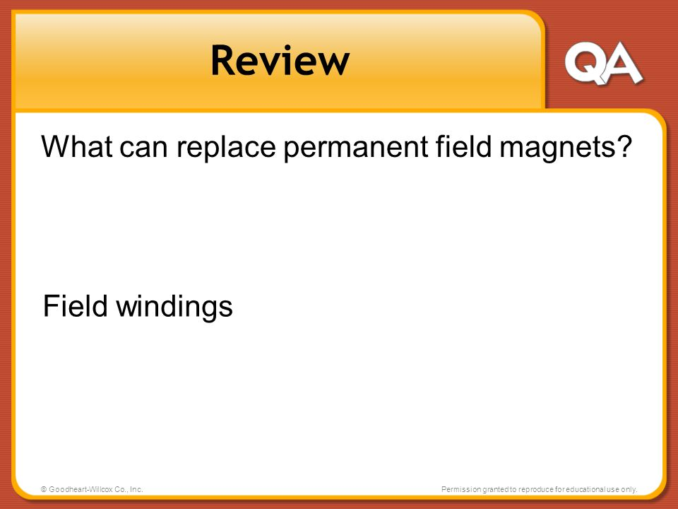 Review What can replace permanent field magnets Field windings
