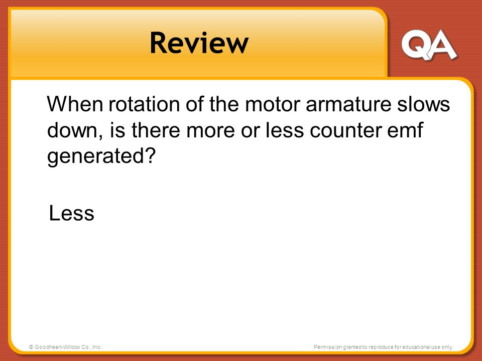 Review When rotation of the motor armature slows down, is there more or less counter emf generated