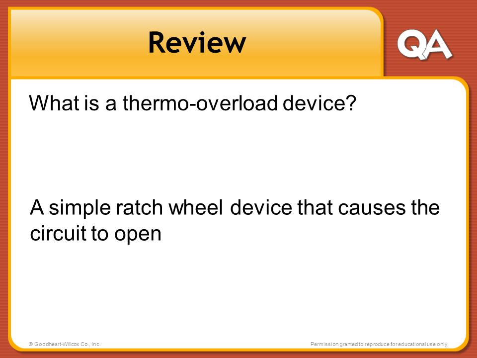Review What is a thermo-overload device