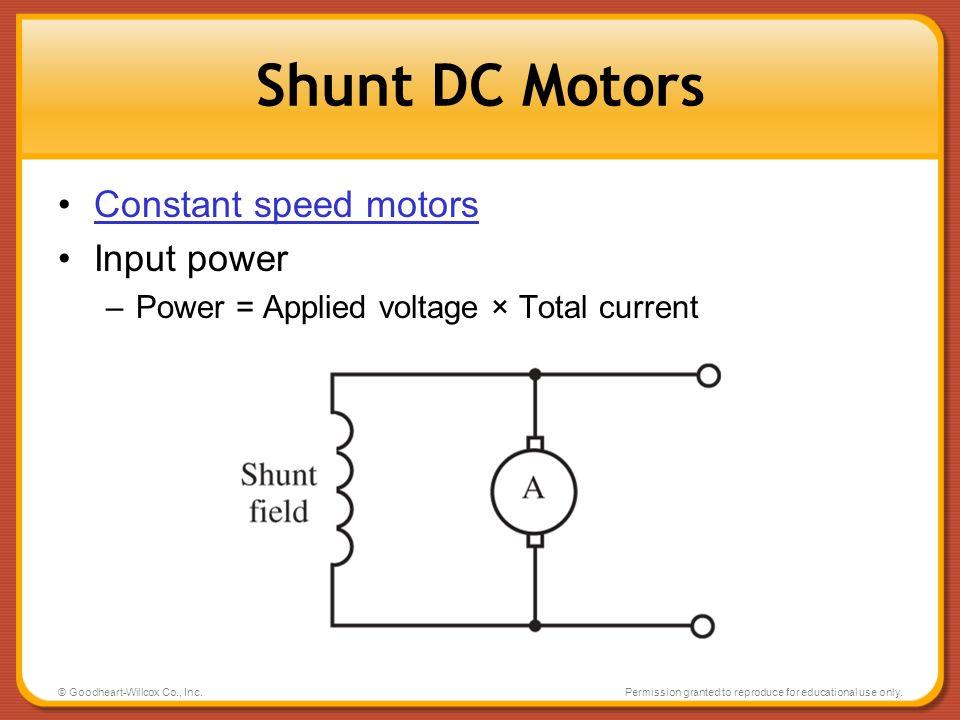 Shunt DC Motors Constant speed motors Input power