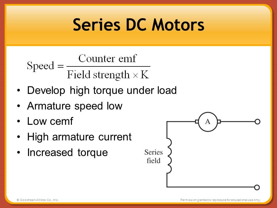 Series DC Motors Develop high torque under load Armature speed low