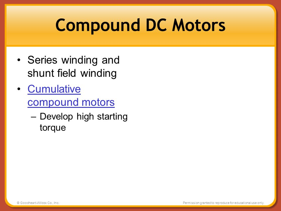 Compound DC Motors Series winding and shunt field winding