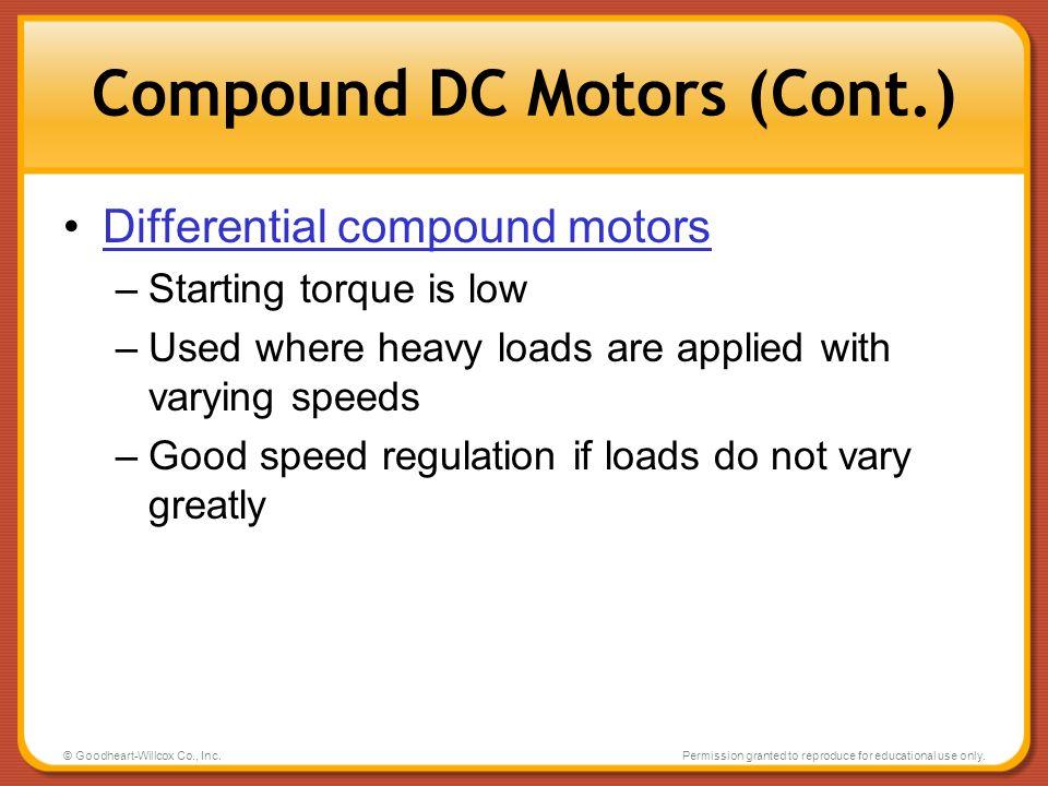 Compound DC Motors (Cont.)