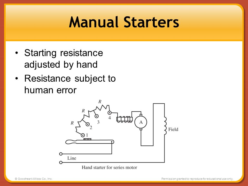 Manual Starters Starting resistance adjusted by hand