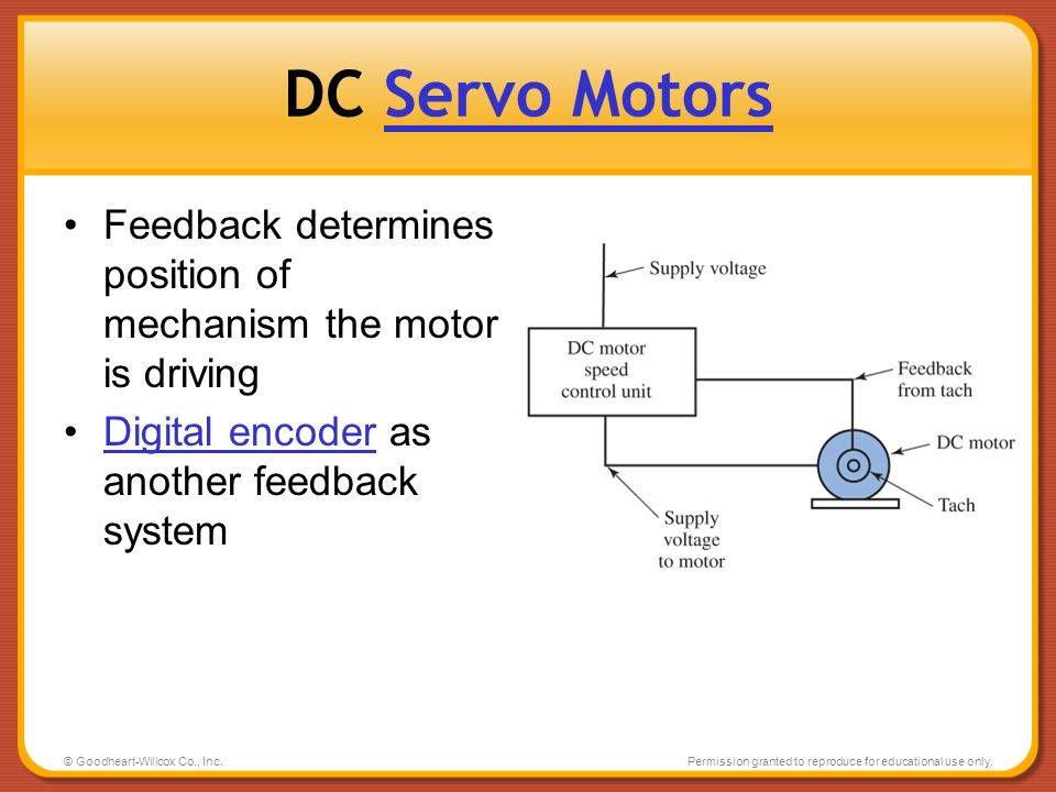 DC Servo Motors Feedback determines position of mechanism the motor is driving. Digital encoder as another feedback system.