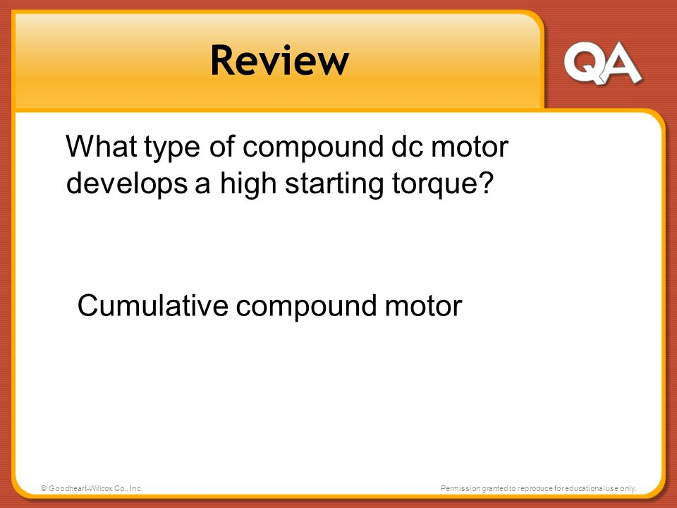 Review What type of compound dc motor develops a high starting torque
