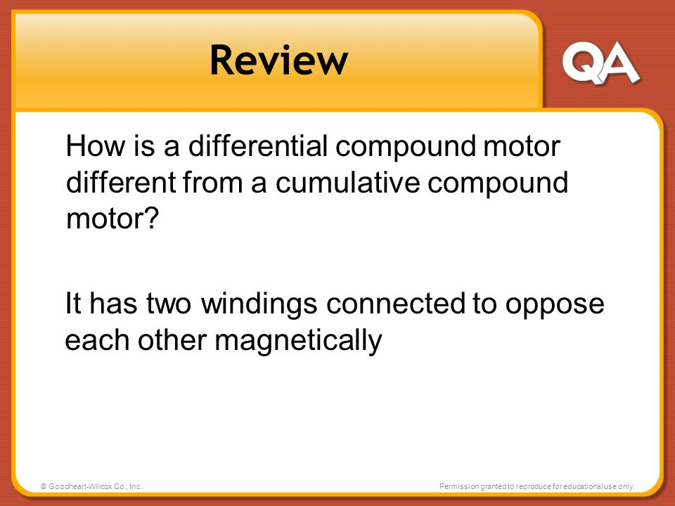 Review How is a differential compound motor different from a cumulative compound motor