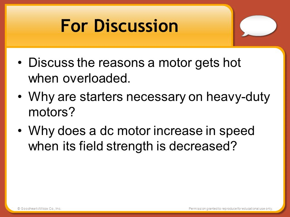 For Discussion Discuss the reasons a motor gets hot when overloaded.