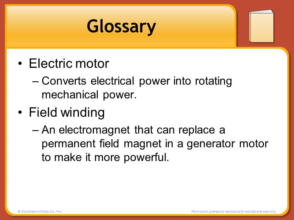 Glossary Electric motor Field winding