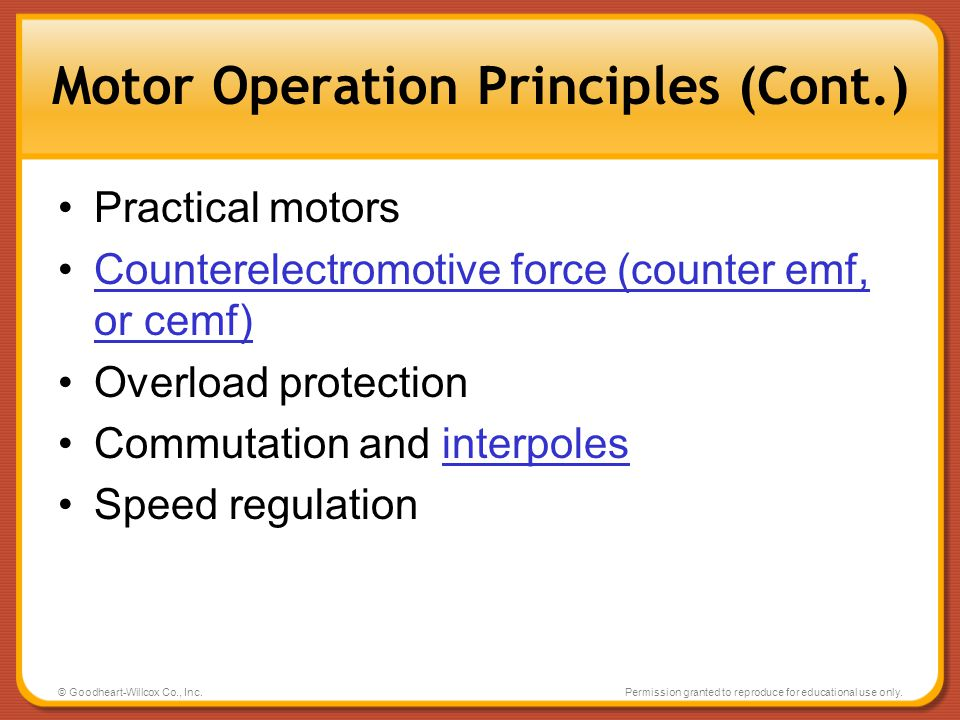 Motor Operation Principles (Cont.)