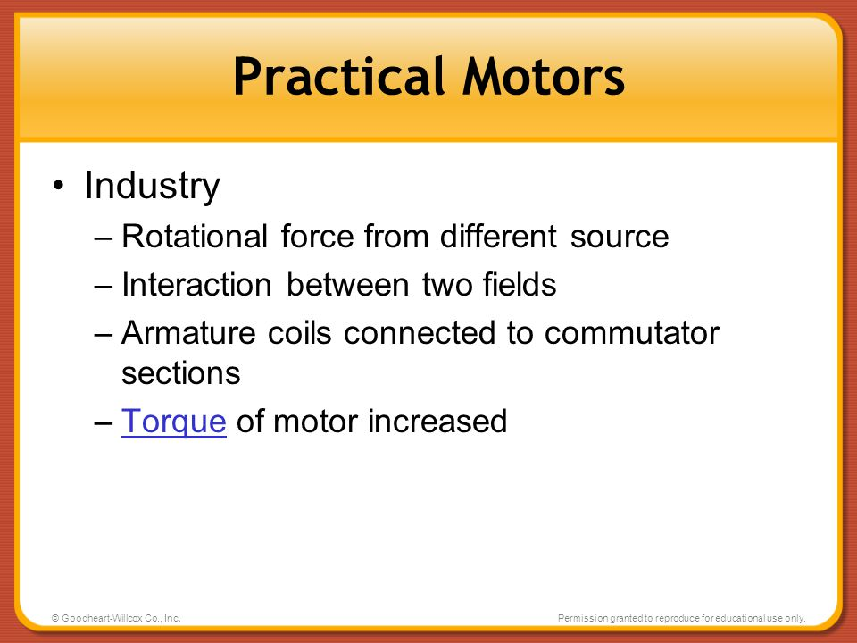 Practical Motors Industry Rotational force from different source