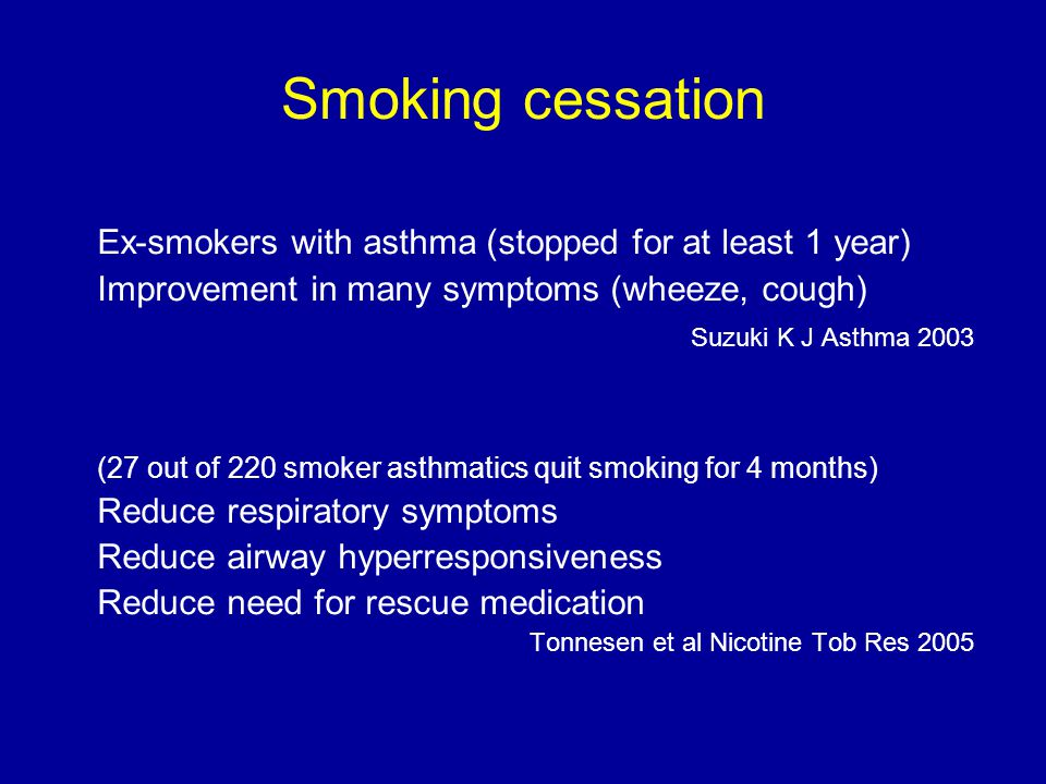 Smoking cessation Ex-smokers with asthma (stopped for at least 1 year)